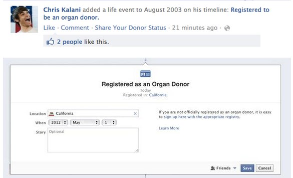 Neues Feature: Organspende Informationen in der Facebook Timeline (Update)