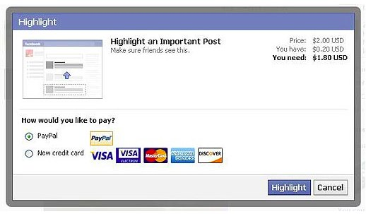 Facebook testet: Statusupdates gegen Geld hervorheben