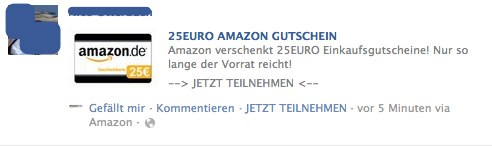 Achtung! Amazon verschenkt keine Gutscheine auf Facebook