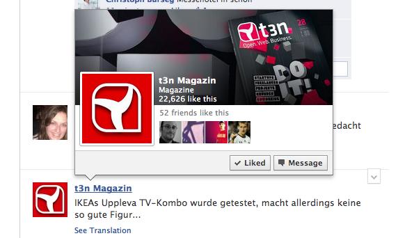 """Facebook Designänderung für """"Kontakt-Overlay"""""""