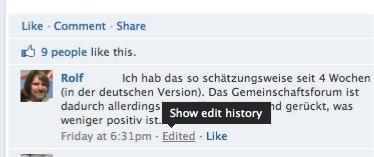 Neu: Facebook Kommentare können nun bearbeitet werden.