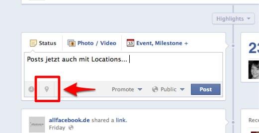 Facebook Pages: Posts jetzt auch mit Ortsinformationen