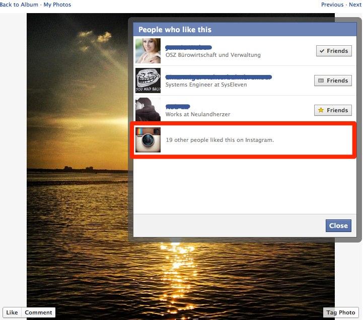 Neues Feature: Likes von anderen Anbietern wie Instagram werden nun auch in der Facebook Plattform dargestellt