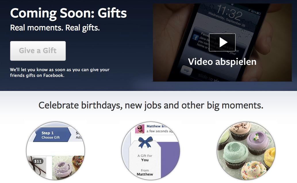 Jetzt wieder da: Facebook Gifts! – Die Neuauflage mit echten Geschenken.