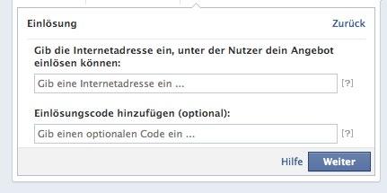 Einstellen eines Gutscheincodes zum Einlösen des Facebook Offers