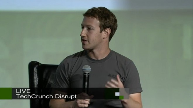 Screenshot aus dem Interview mit Mark Zuckerberg bei der TechCrunch Disrupt in San Francisco