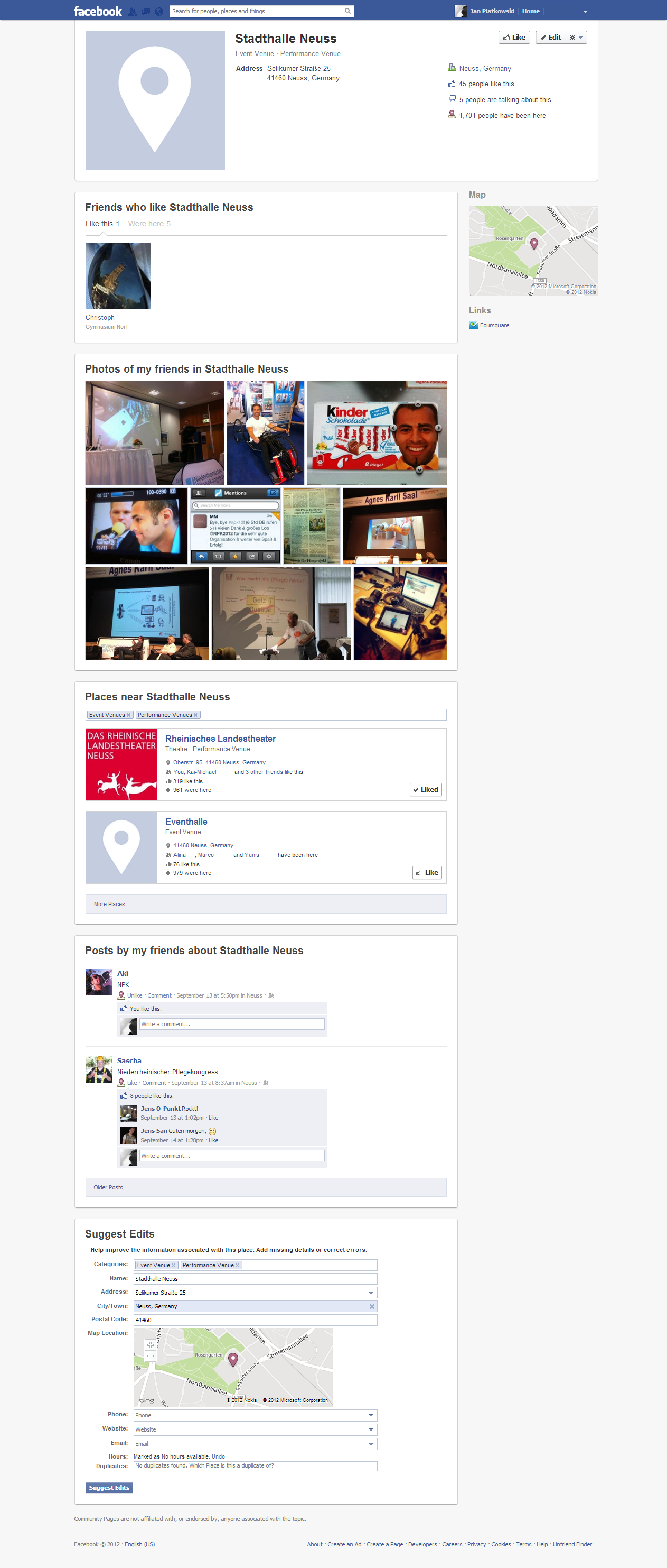 Facebook (Community) Places: Neues Design im Test.