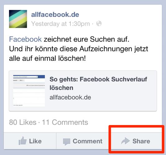 Endlich: Facebook erstellt Funktion zum Sharing auf dem Smartphone