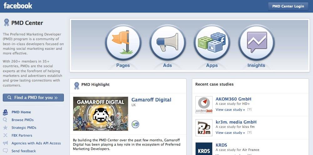 Facebook eröffnet neue Seite für PMD Programm