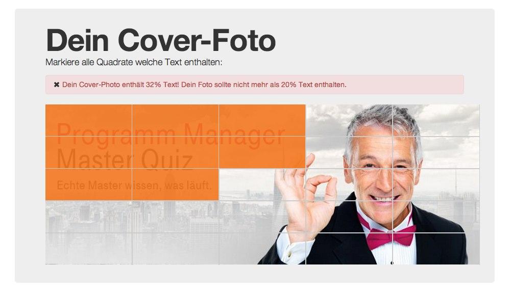 Linktipp: Dieses Tool hilft bei der Überprüfung der 20% Regel für Text innerhalb des Coverphotos