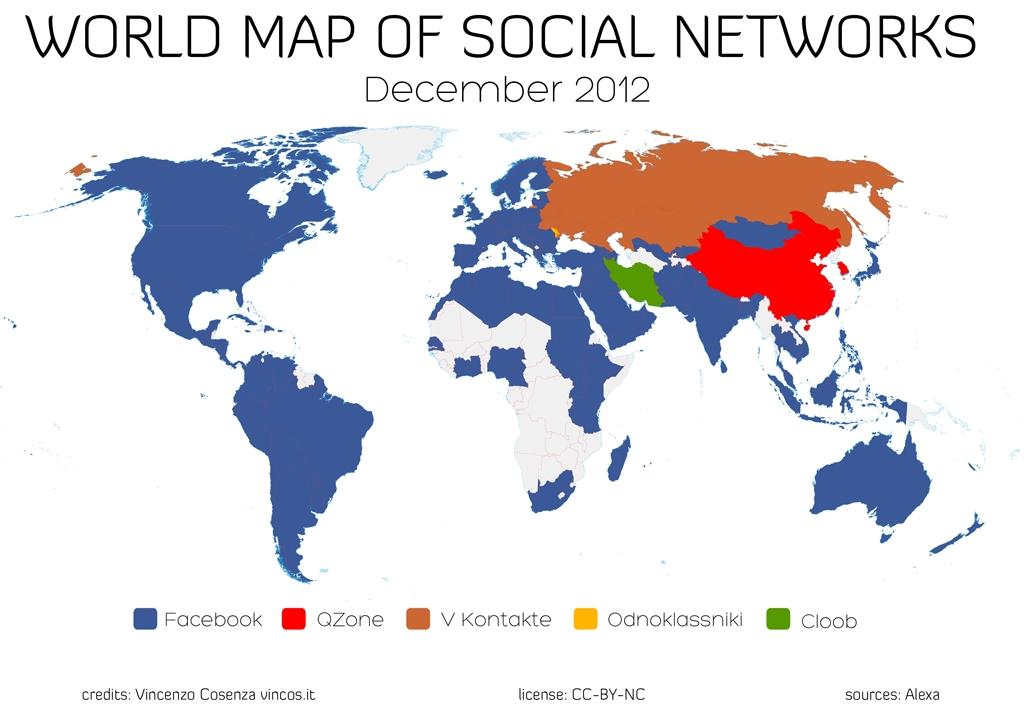 Facebook ist führendes Netzwerk in 127 von 137 Staaten