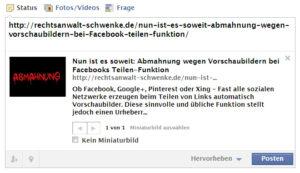 Erste Abmahnung wegen automatischen Vorschaubildern beim Teilen von Links auf Facebook