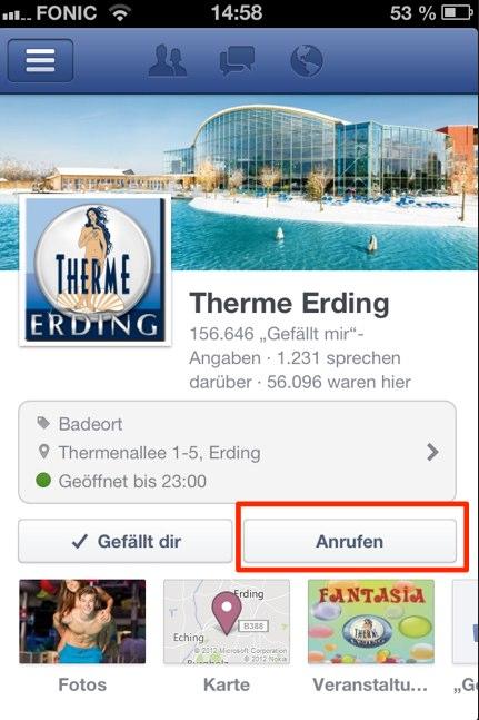 Anrufen Option für Facebook Pages unter iOS und Android verfügbar