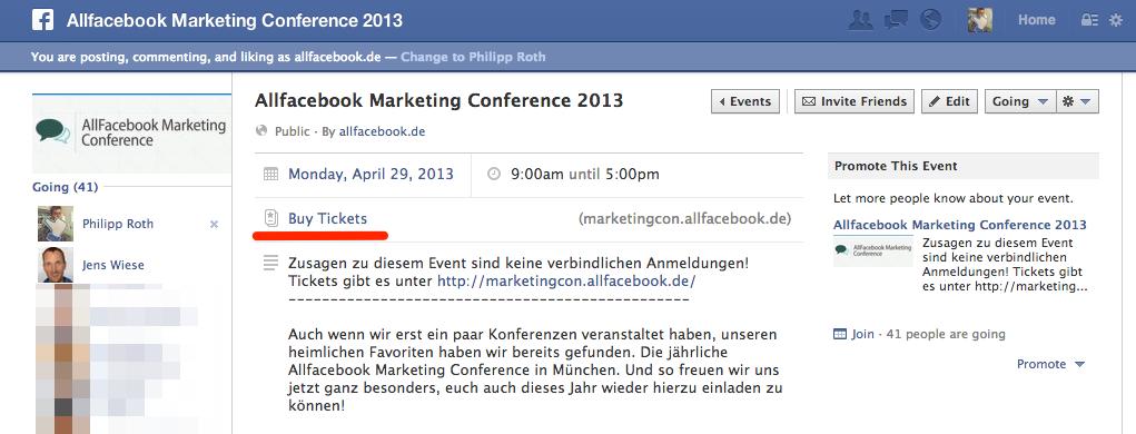 """""""Buy Tickets"""": Bei Facebook Events kann der Verkauf von Tickets nun direkt integriert werden"""