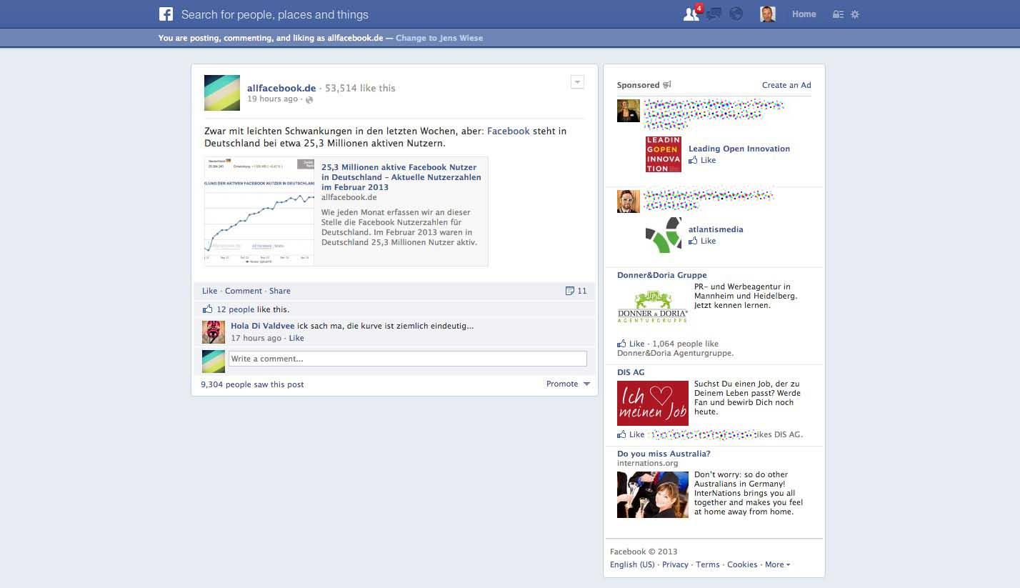 Facebook testet neue Querformat Anzeige und überarbeitet Permalink Seiten