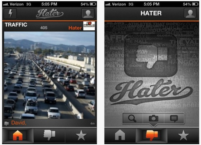 Hater App for iPhone 3GS, iPhone 4, iPhone 4S, iPhone 5, iPod touch (3rd generation), iPod touch (4th generation), iPod touch (5th generation) and iPad on the iTunes App Store