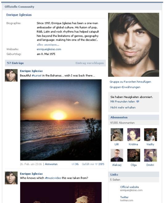 VKontakte-Beispiel-Seite
