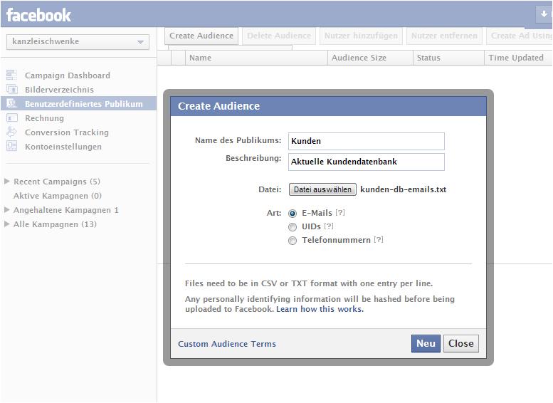 """Vorsicht bei der Nutzung der """"Benutzerdefinierten Zielgruppe"""" für Facebook Ads"""