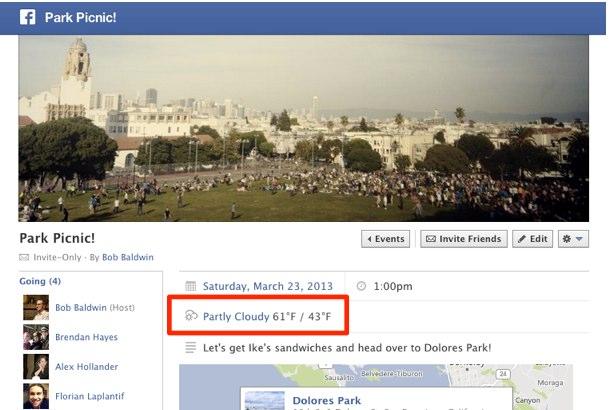 Facebook erweitert Event- und Placepages um Wettervorhersage