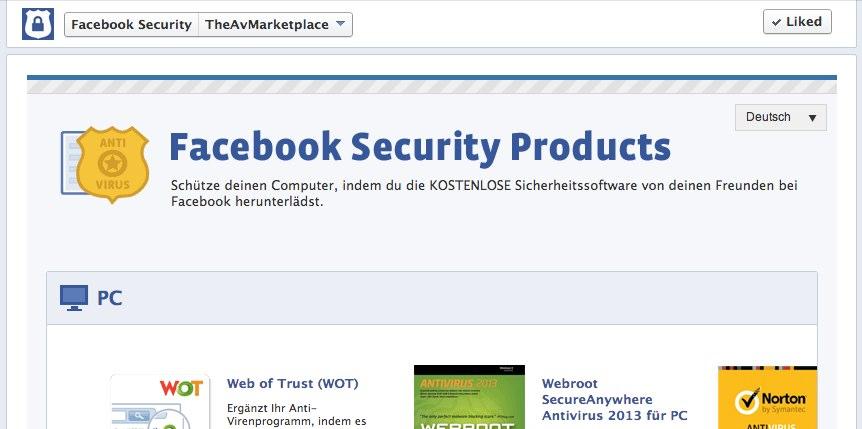 Kostenlose Antiviren-Programme von Facebook
