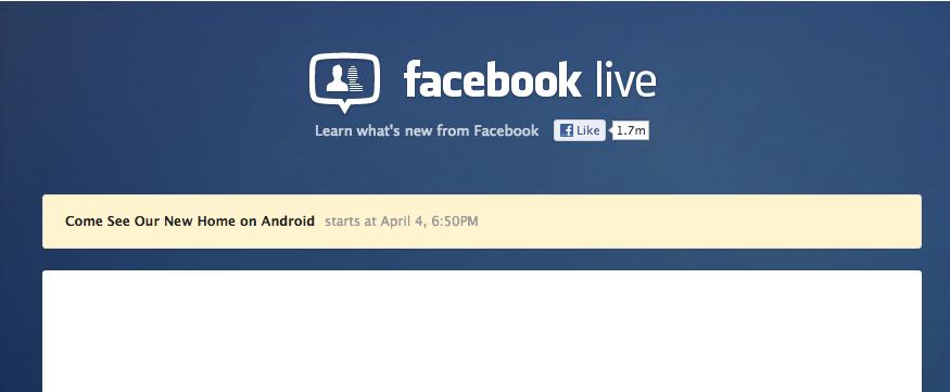 """New Home for Android"" – Livestream zur Facebook Phone/Betriebssystem/… Präsentation"