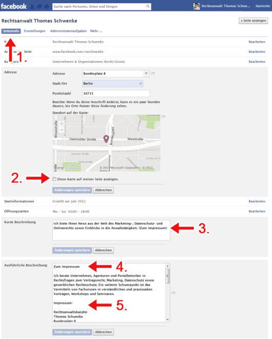 Wenn Sie diese 5 Schritte befolgen, erhalten Sie ein rechtlich zulässiges Facebook-Impressum (zum Vergrößern klicken)