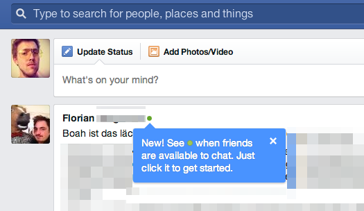 Wer ist online? – Der aktuelle Status der Freunde wird nun direkt im Newsfeed angezeigt.