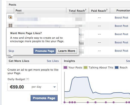 """Neue Änderung am Seiten-Dashboard: """"Get More Likes"""" – wieder steht die Werbung im Fokus."""