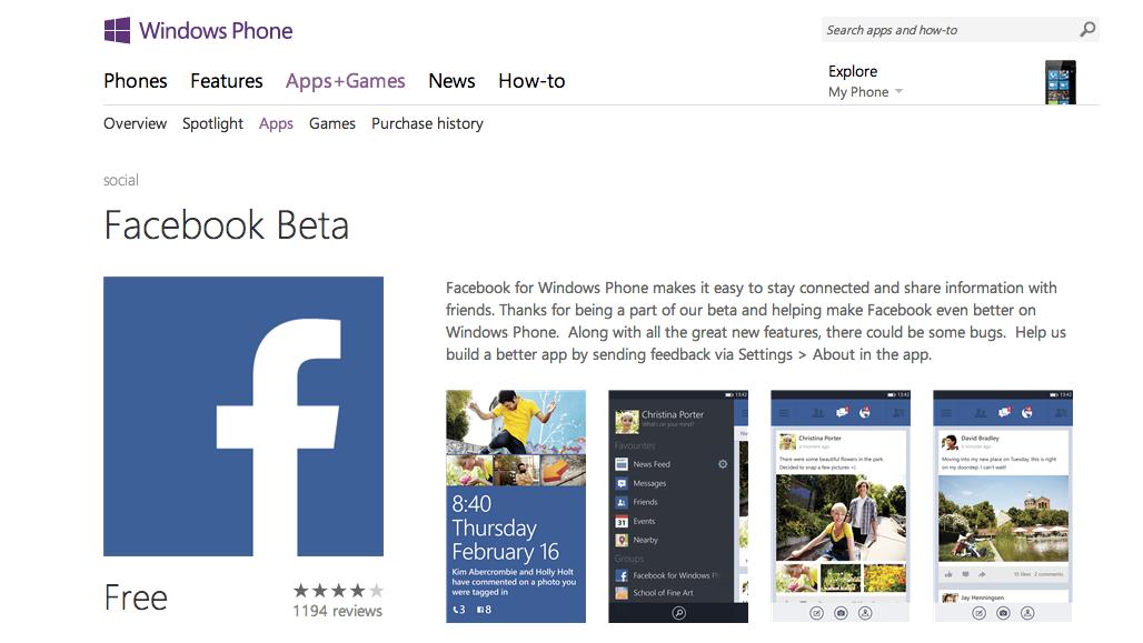 """""""Ein Quantensprung"""" – Die neue FacebookApp fürs Windows Phone gibt es jetzt als Beta"""