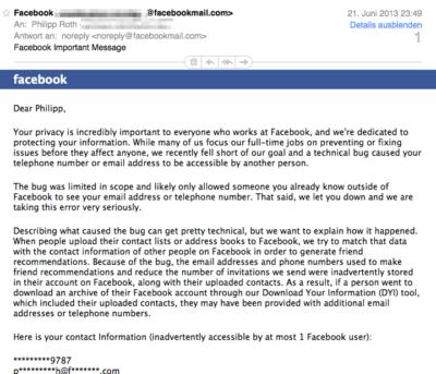 Sechs Millionen Nutzer von Datenleck betroffen: Facebook teilt E-Mail-Adresse und Telefonnummer mit den falschen Personen