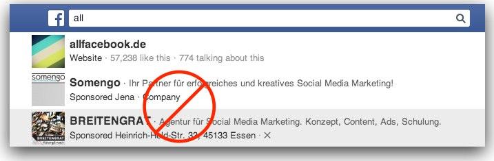 Facebook räumt bei den Anzeigen auf – Sponsored Results nicht mehr verfügbar