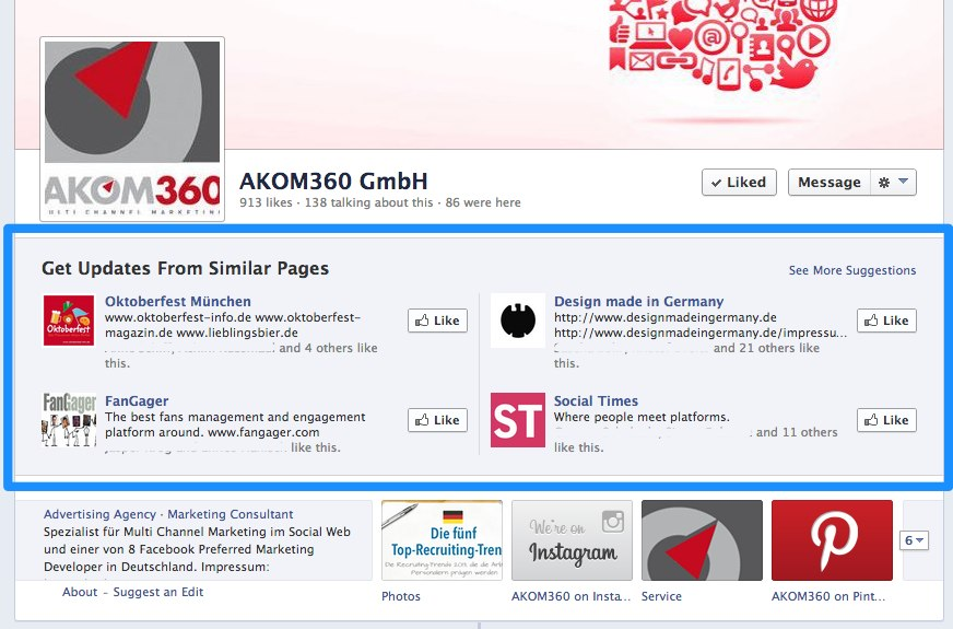Facebook baut Präsentation der Page Suggestions auf Facebook Seiten weiter aus