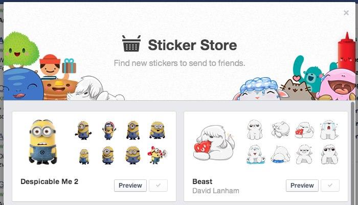 Facebook bringt Sticker in den Browserchat