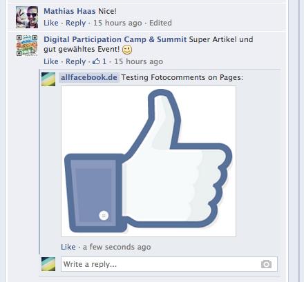Neu: Fotokommentare jetzt auch auf allen Facebook-Seiten