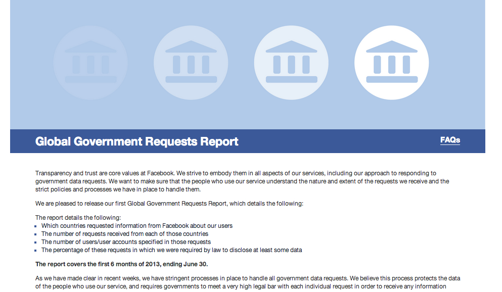 Facebook nimmt offiziell Stellung zum Umfang von Regierungsanfragen: 1886 Anfragen aus Deutschland von Januar bis Juni des Jahres 2013