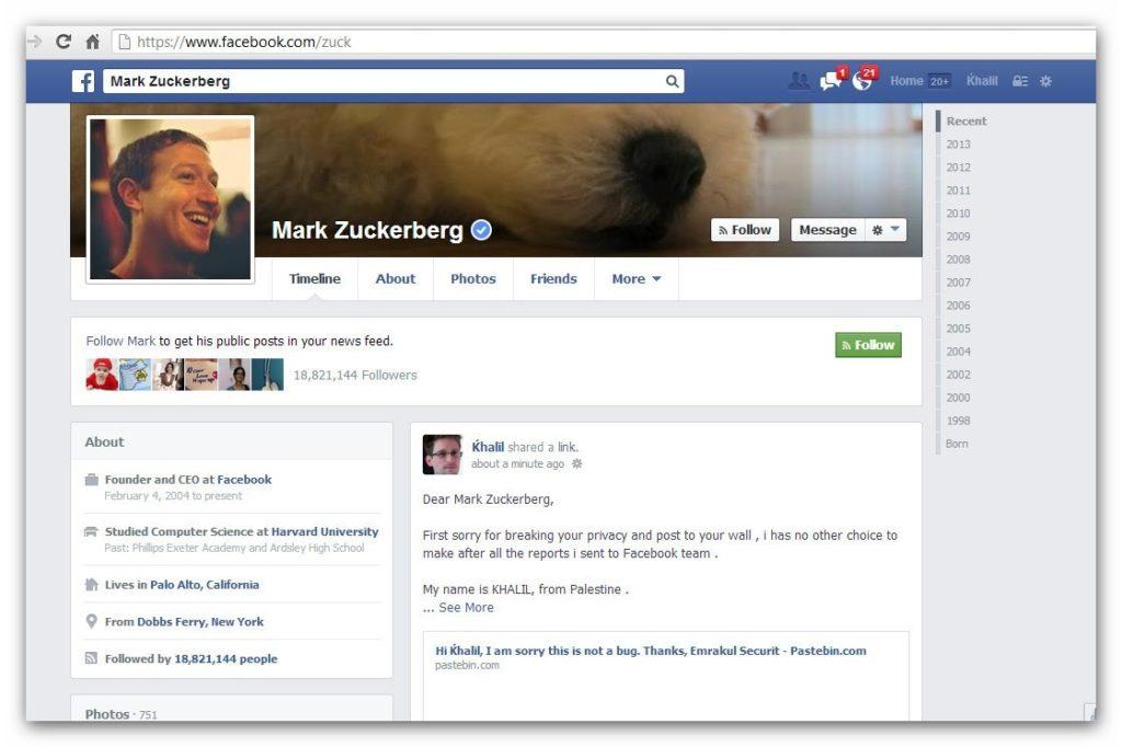 Hacker nutzt Sicherheitslücke und postet auf die Timeline von Mark Zuckerberg (um die Sicherheitslücke zu melden)