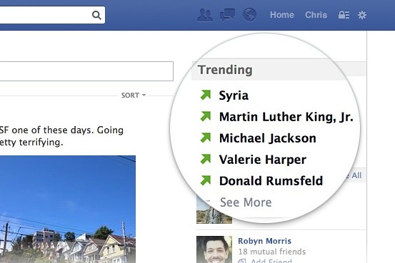 "Facebook testet ""Trending Topics"" nun auch in der Desktop Version"