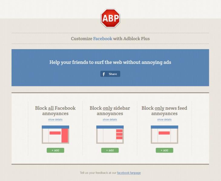 AdBlock Plus kümmert sich jetzt um 19 Facebook-Ärgernisse und ein werbefreies Facebook