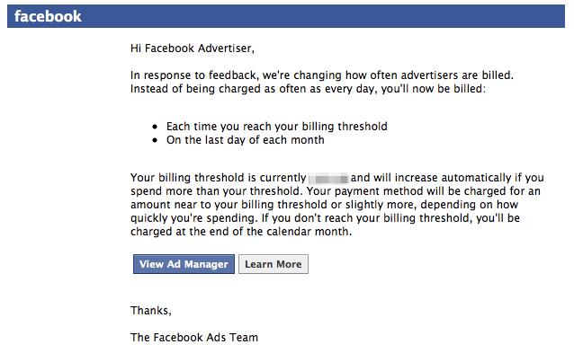 Gute Nachricht für Werbekunden: Facebook testet Monatsrechnungen!