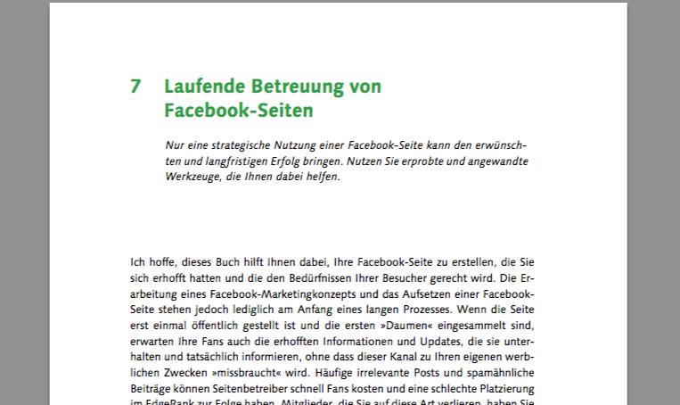 Laufende Betreuung von Facebook-Seiten – Kostenloses Buchkapitel als exklusiver Download (PDF, 42 Seiten)