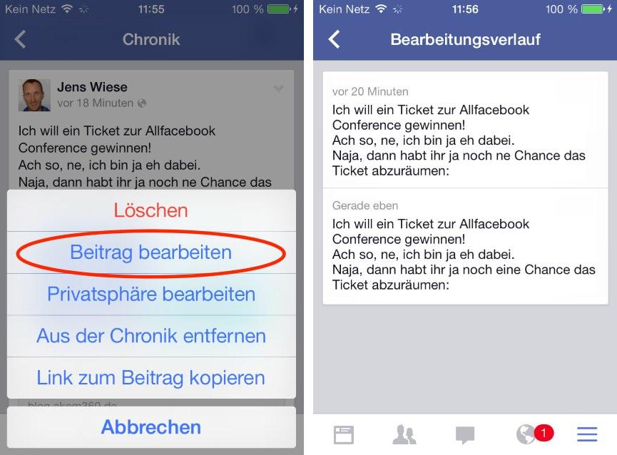 Neue Version der Facebook iOS App erlaubt unter anderem das Editieren von Beiträgen