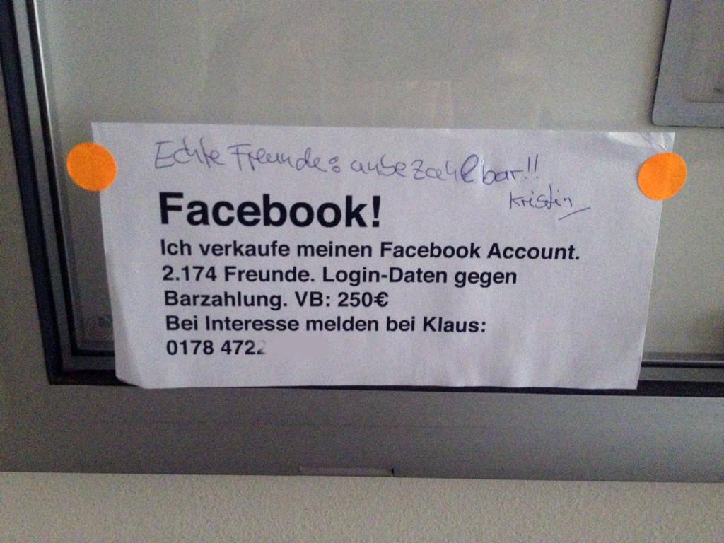 Facebook Account verkaufen? Schöne Idee, aber mehr auch nicht.
