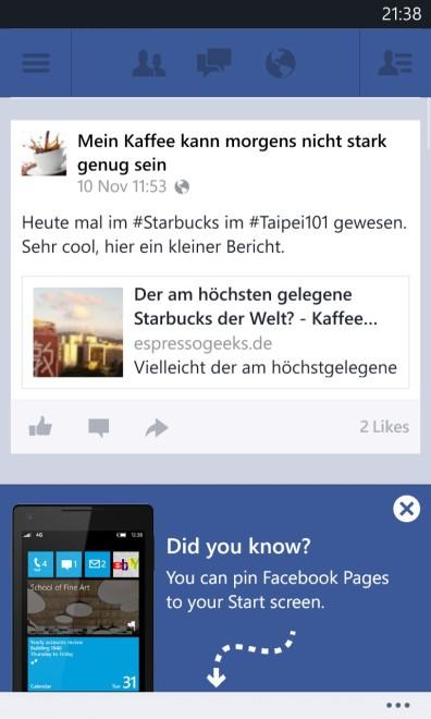 FB-Pages auf die WP8 Startseite