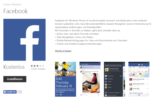Facebook App im Windows Store