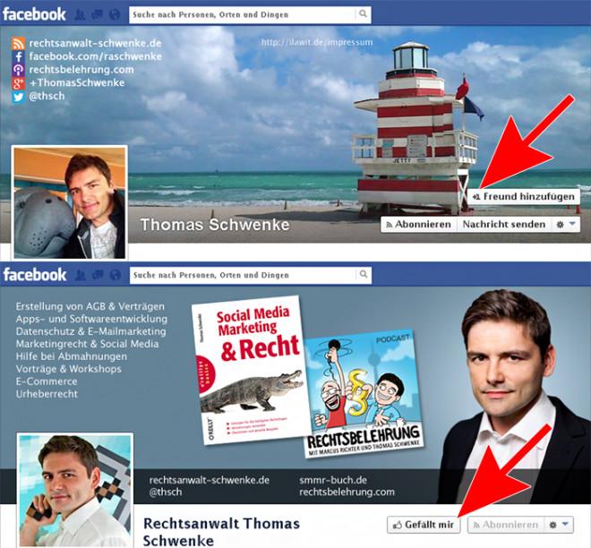 """Für Privates ist die persönliche Chronik/Profil dar (erkennbar an der Möglichkeit Freunde hinzuzufügen), für Geschäftliches die Facebook-Seite (erkennbar am """"Gefällt-mir""""-Button)."""