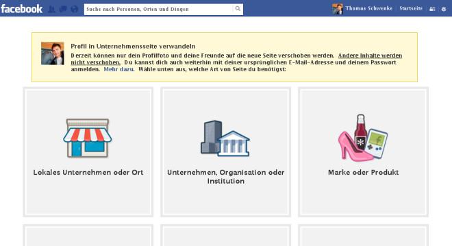 Falls Sie statt einer Facebook-Seite eine persönliche Chronik für Ihre geschäftliche Kommunikation nutzen, können Sie diese nachträglich in eine Facebook-Seite umwandeln.