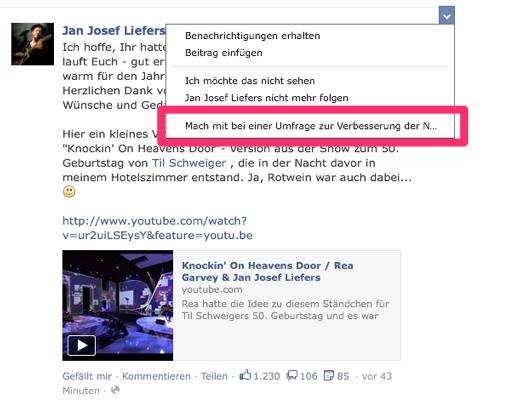 Newsfeed selbst optimieren mit Facebook-Umfrage