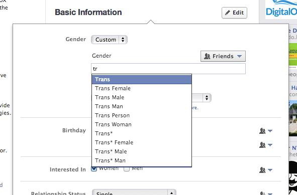 Auswahl Geschlecht auf Facebook