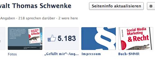 Facebook Impressum als Facebook App in der App Row
