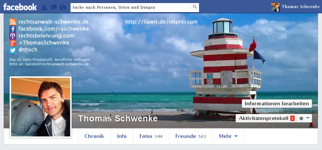 Facebook Impressum im Coverfoto